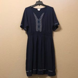 Caslon navy embroidered detail dress